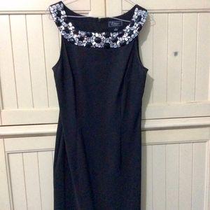 Black Gemstone Neck Dress